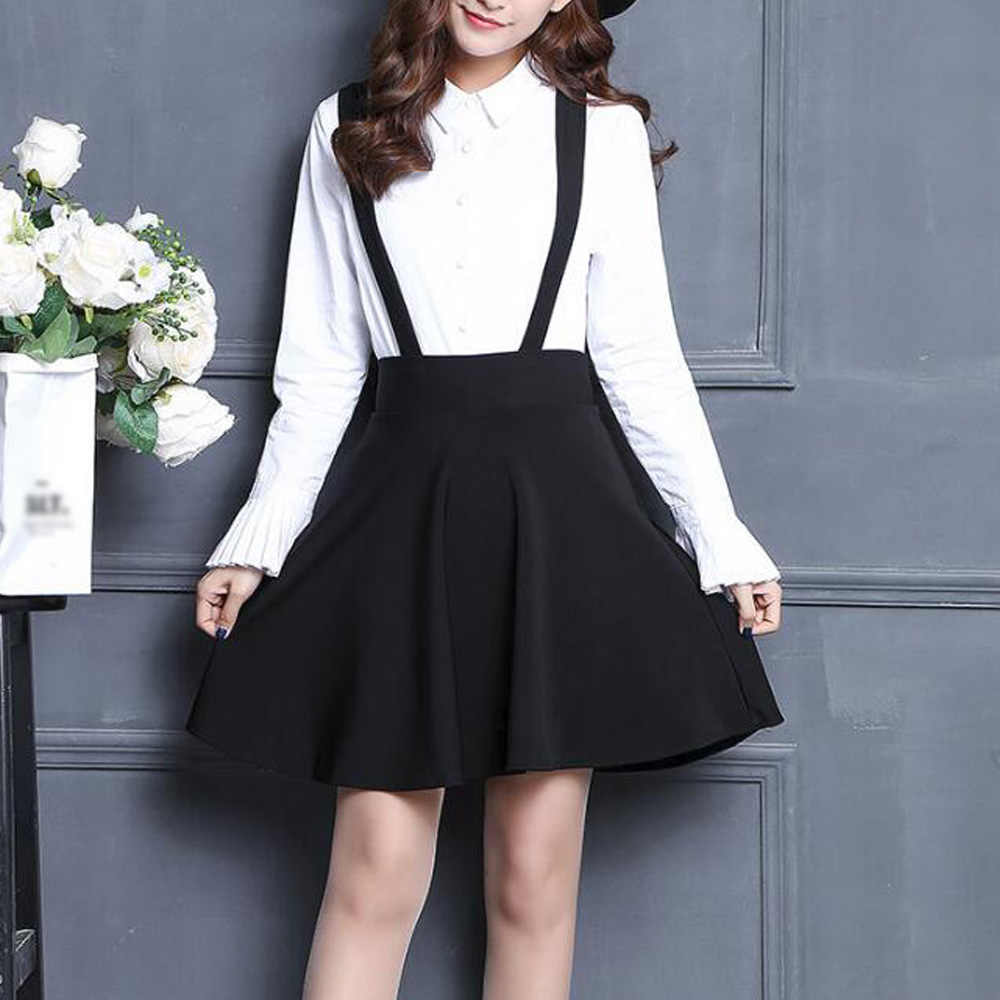 Women Suspender Skirt Lolita Style High Waist A Line Black Mini Skater Skirts Casual School Two Shoulder Strap Skirts Faldas