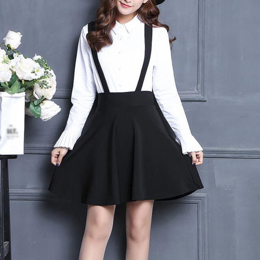 Women Suspender Skirt Lolita Style High Waist A Line Black Mini Skater Skirts Casual School Two Shoulder Strap Skirts Faldas