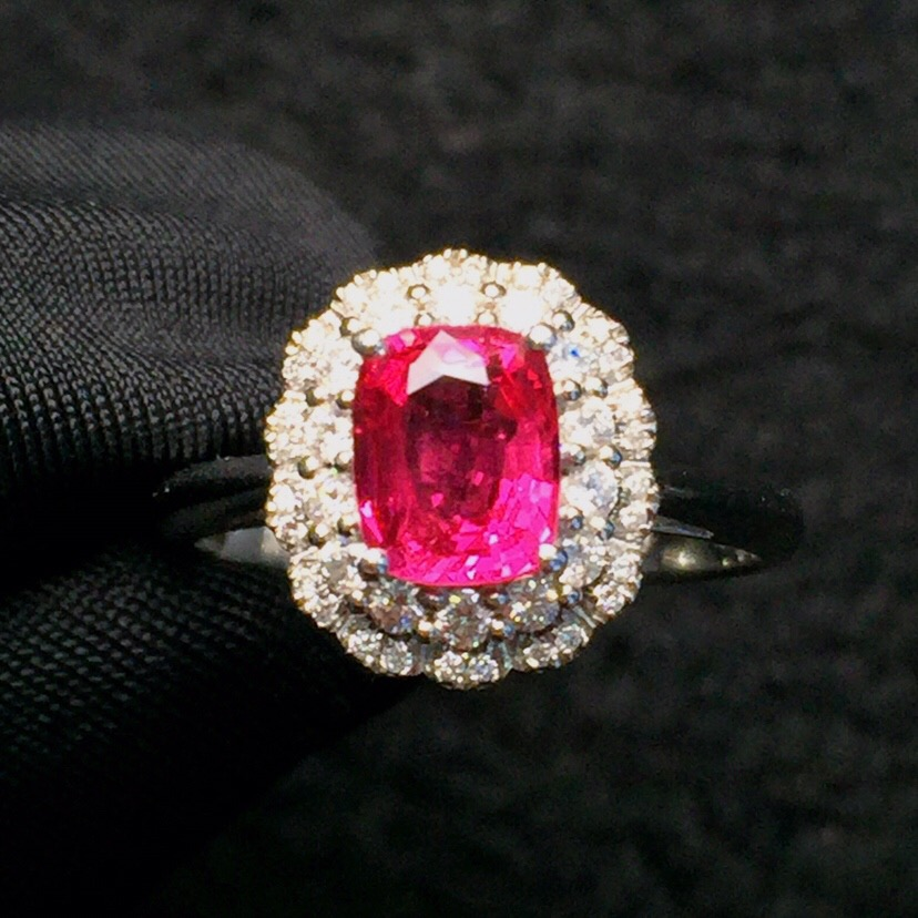 Fine Jewelry Real Pure 18 K White Gold AU750 100% Natural Red Spinel 1ct Gemstones Diamonds Female's Anniversary Gift Fine Rings