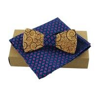 Mantieqingway Solid Wood Bow Tie Set Accessories Gravatas Men's Printed Handkerchiefs Pocket Towel Wooden Bowtie Wedding Party