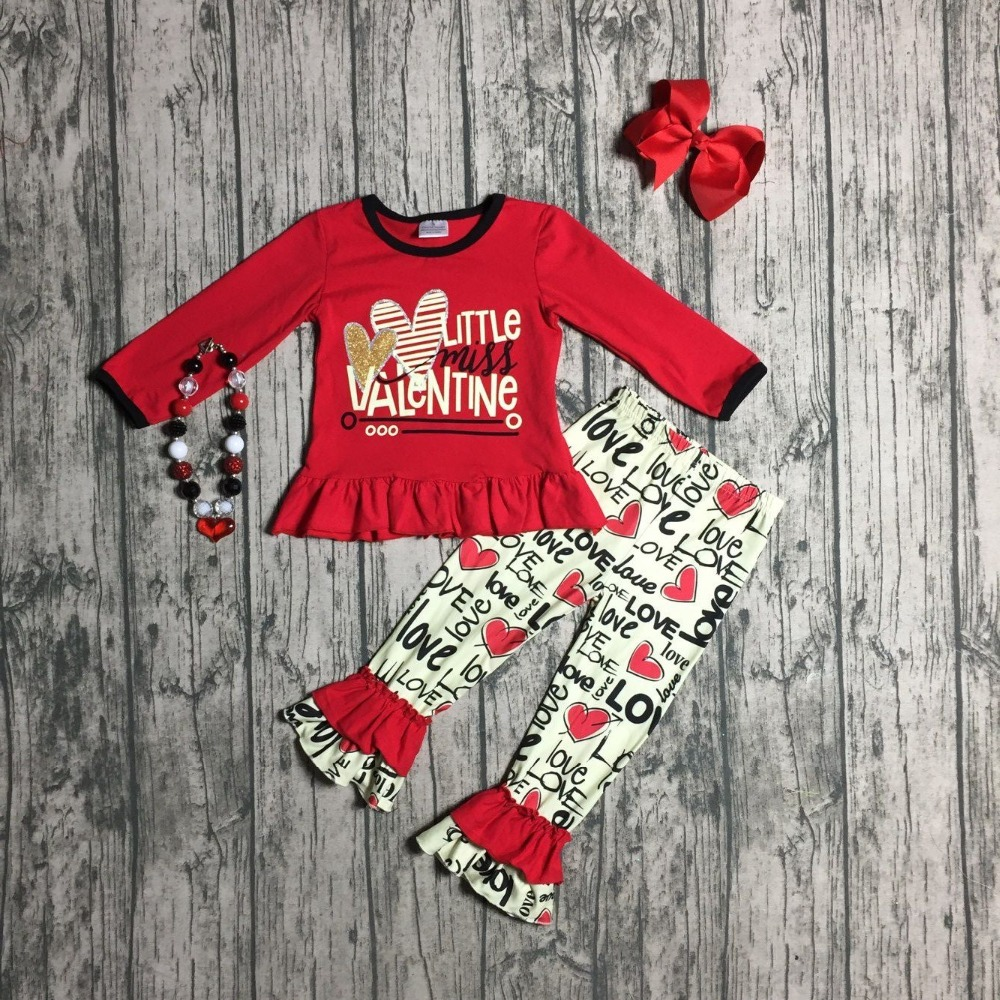 Letter Little Miss Valentine's Day Baby Girls Clothes