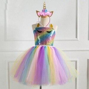 Image 2 - Girls Unicorn Pony TUTU Dress With Gold Headband Wings Kids Sequin Princess Party Dress Children Unicorn Costumes 2019 New 2 10T