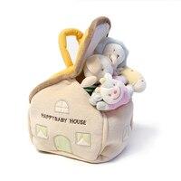 Candice guo plush toy stuffed doll cartoon animal house Storage box baby hand catch rattle circle lion giraffe dog deer 4pcs/set