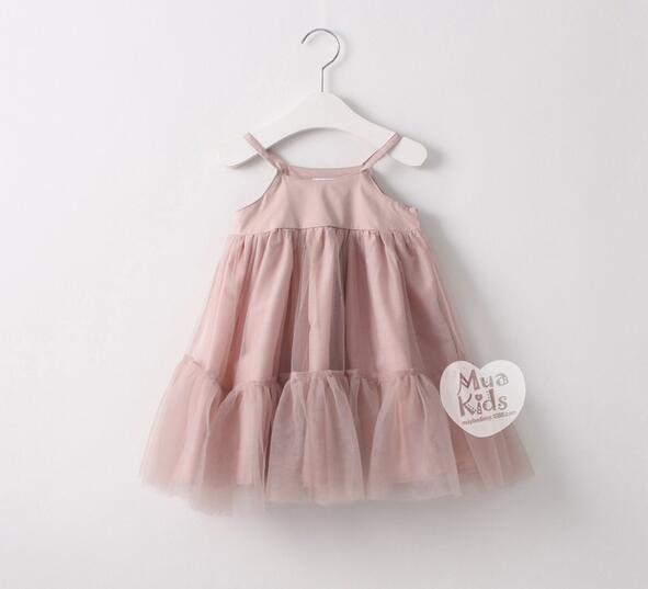 c46191f21 2016 Baby Girls Mesh Lace Dresses Kids Girl Princess Singlet Dress ...