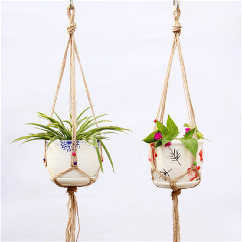 Image 5 - Straw Macrame Plant Hanger Flower Pot Garden Holder Legs Hanging Rope Basket Household Garden Decoration Dropshipping-in Hanging Baskets from Home & Garden