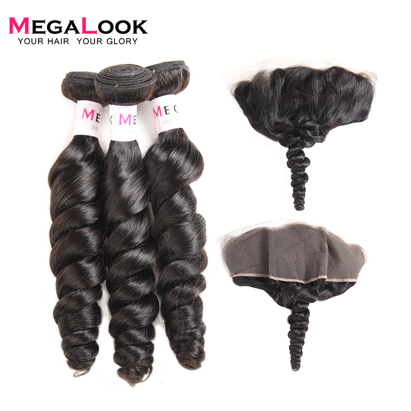 Megalook Loose Wave Bundles with Frontal 3pcs Malaysian 100 Remy Human Hair Bundles with Lace Frontal