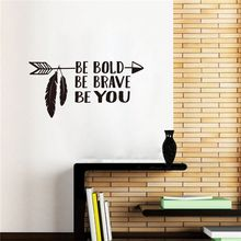 Wall Art Decal Be Bold Brave You Arrow Sticker Home Decor Boys Room Vinyl Stickers Kids Quote AY0247