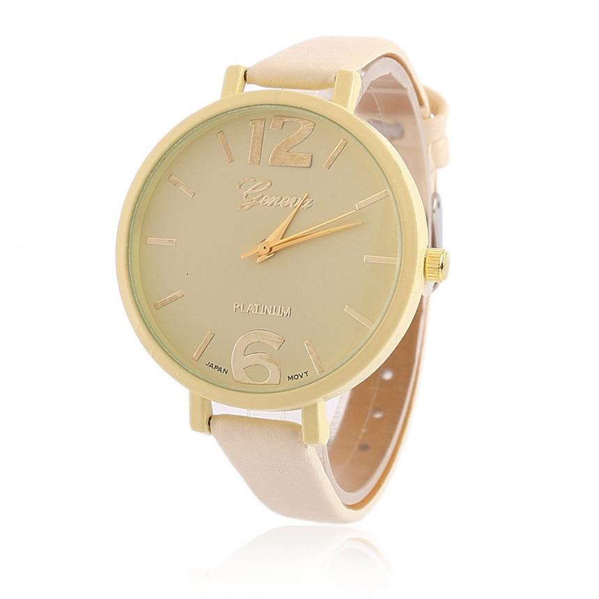 Simple Women Watch Geneva Candy Women Clock Faux Leather Big Dial Analog Quartz Wrist Watch Kol Saati  Relogio Feminino D30