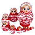 Bonecas matryoshka 10 pçs/set russa tradicional étnica trança menina flor mão pintura de madeira bonecas do assentamento russo toys para meninas