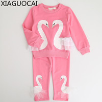 Baby Girls Clothes Long Sleeve T Shirt Pants 2Pcs White Swan Pattern Lace Design Children Lovely