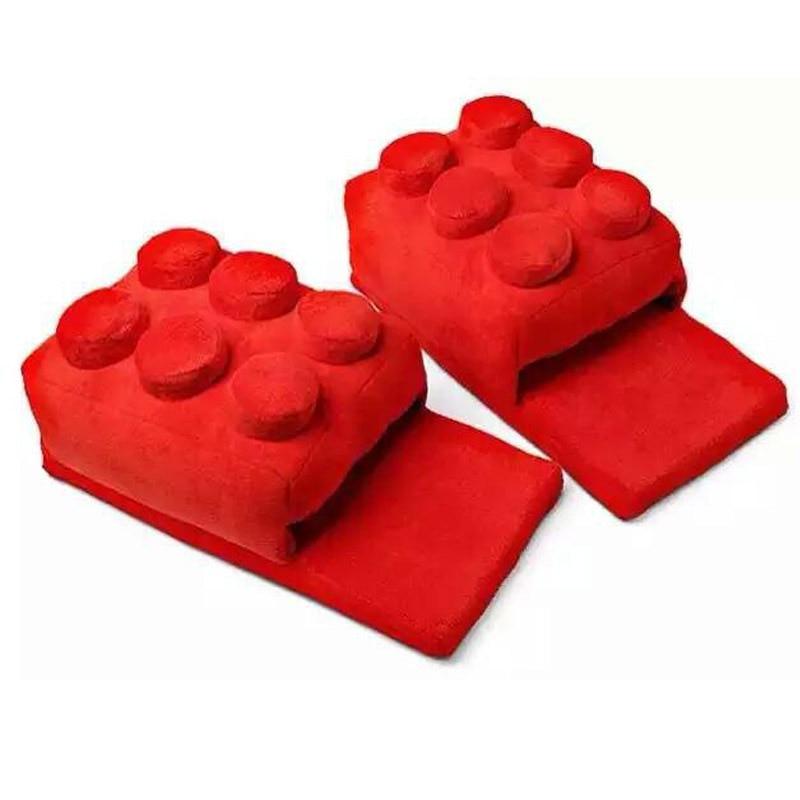 Pantufa chinelo Lego Inverno dos desenhos animados criativo casa quente chinelos para homens feminino engraçado macio blocos de construção masculino indoor chinelo sapatos para unisex
