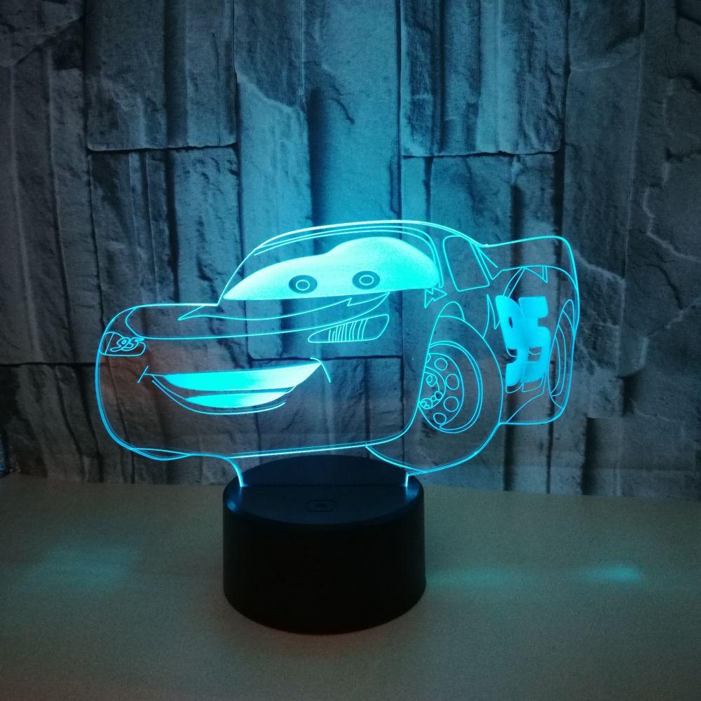 Спортивный автомобиль 3d, красочные 3d привело постепенное изменение иллюзия Лампа Сенсорный пульт Управление 3d Led маленький ночник