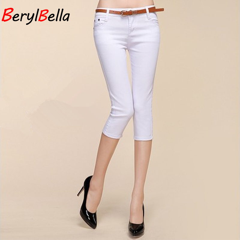 BerylBella Summer Women   Pants     Capris   2018 Plus Size High Waist Candy Cotton Skinny Denim Elastic Short   Capris   For Women P326