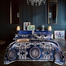 Luxury Blue European Silk Satin Cotton Jacquard Royal Wedding Bedding Set Duvet Cover Bed sheet Bed Linen Pillowcases 4/9pcs bed linen set leticia collection estetica fabric of satin jacquard production of ecotex russian companies