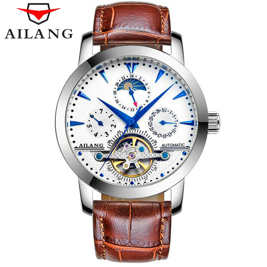 AILANG Mens Tourbillon Mechanical Watches Top Brand Luxury Genuine Leather Waterproof Watch Men Business Automatic Wristwatches forsining tourbillon mens watches top brand luxury genuine leather strap men casual watch mechanical wristwatches men erkek saat