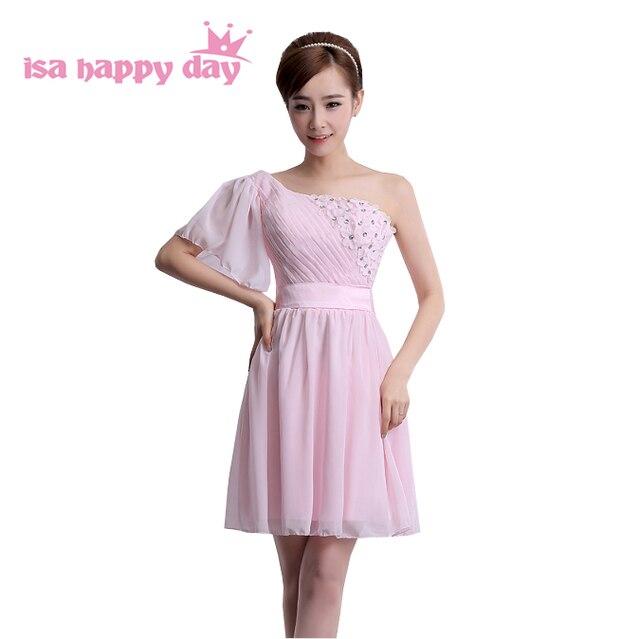 new light pink teen one shoulder bridesmaid dress modest girls ...