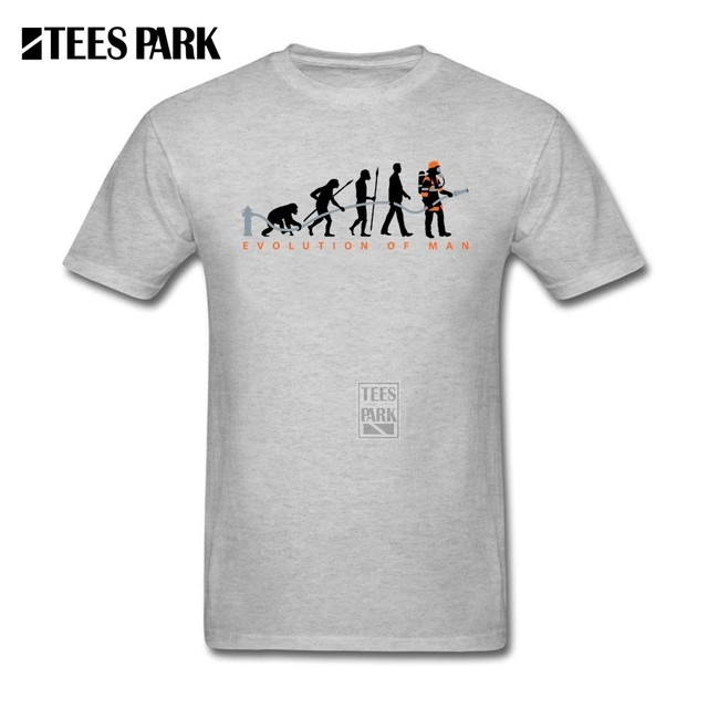 6fb70616245a9 Homens Brancos Camisa Evolução do Homem Bombeiro Mens O Neck Manga Curta  Camisetas Hot Barato Personalizado