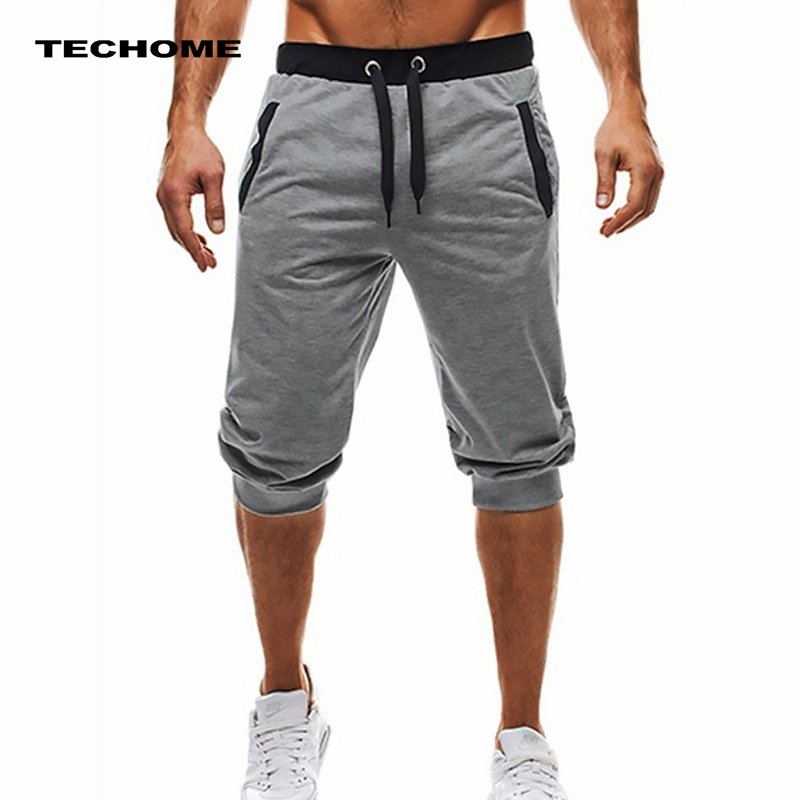 цены на Summer men Leisure Men Knee Length Shorts Color Patchwork Joggers Short Sweatpants Trousers Men Bermuda Shorts roupa masculina