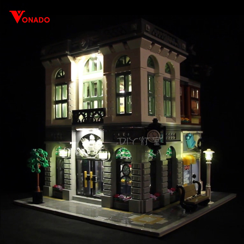 Led Light Set For <font><b>Lego</b></font> <font><b>10251</b></font> Building Blocks Creator City Street Compatible 15001 Bank House Toys (only light with Battery box) image