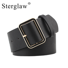 105x4.8cm New Design Wide belt female jeans belts decorate waistband fashion gold pin buckle width party black N020
