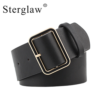105×4.8cm New Design Wide belt female jeans belts decorate waistband fashion gold pin buckle width belt party belt black N020