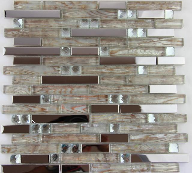 Freies Verschiffen Silber Metall Kristall Glas Mosaik Fliesen - Mosaik fliesen metallic