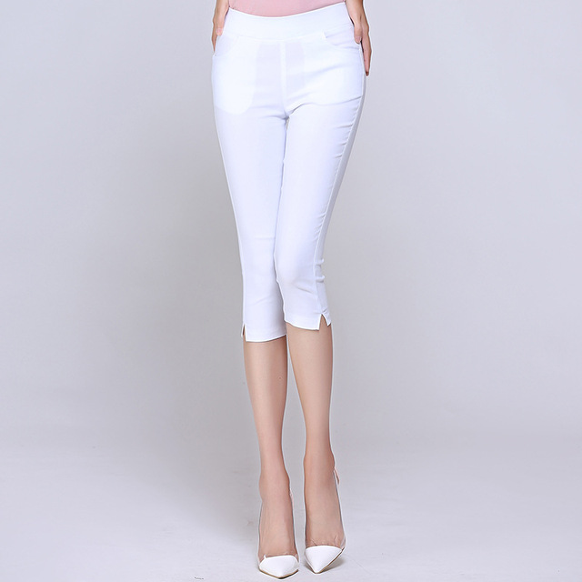 8a8a6d29837b1 Plus Size Super Stretch Leggings Summer White Capris Women Thin Summer Trousers  Ladies High Waist Elastic