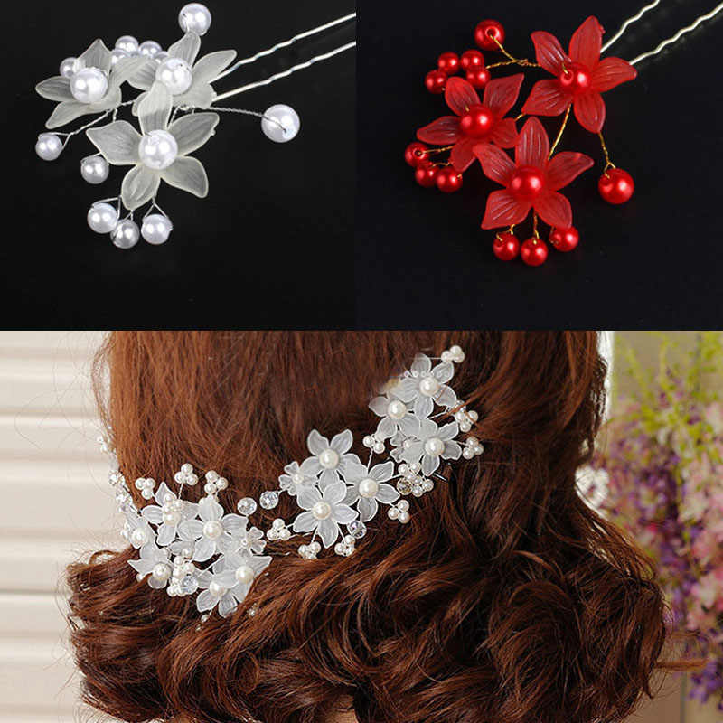 Wedding Hair Jewery New Handmade Red White Colors Bride Wedding Hair comb Pin Flower Bridal Hair Accessories