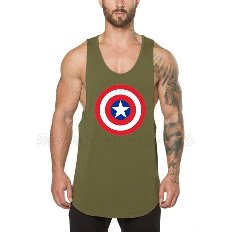 57a4cb864be1c9 Brand Captain America Cotton gyms clothing fitness tank top men singlet  bodybuilding shirt debardeur homme musculation vest-in Tank Tops from Men s  Clothing ...