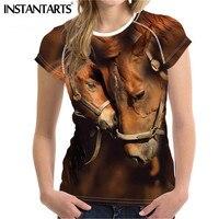 INSTANTARTS Women Summer Short Sleeved Top Tee Casual Breathable Slimming T shirt 3D Brand Design Crazy Horse Print Slim Tshirt