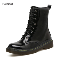 HAIYUELI Martin Boots Fashion Round Toe Patent leather Rubber Women Punk Motorcycle Gothic Women's Boots Winter Shoes