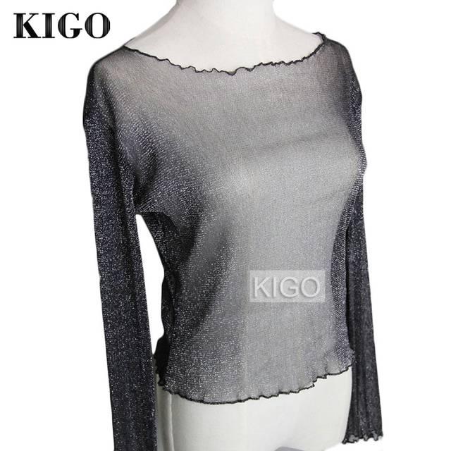 93bd984536 US $8.33 27% OFF|KIGO Summer Women Blouse 2017 Fashion Silver Glitter Top  Long Sleeve Sexy See Through Metallic Blouse Women Tops KF0967H-in Blouses  & ...