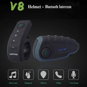 Image 5 - Vnetphone V8 Bluetooth Intercom Motorcycle Helmet Headset NFC Remote Control FM Waterproof 5 Riders Duplex Wiresless Intercom