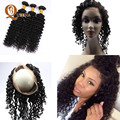 8A Brazilian Deep Wave 360 Frontal With Bundles Brazilian Virgin Hair Deep Curly 360 Lace Band Frontal With Bundles