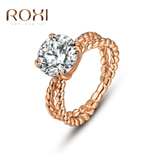 ROXI TOP Gold Plated Quality 3 Round Rose Gold Plated Single Ring Jewelry Crystals From Austria Full Sizes Wholesale