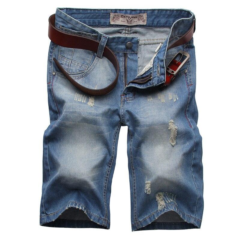 Shorts hombre 2016 finos de Verano pantalones cortos de mezclilla rasgado vaqueros gato macho como un agujero en la cintura de los hombres rectos de mezclilla joggers 8