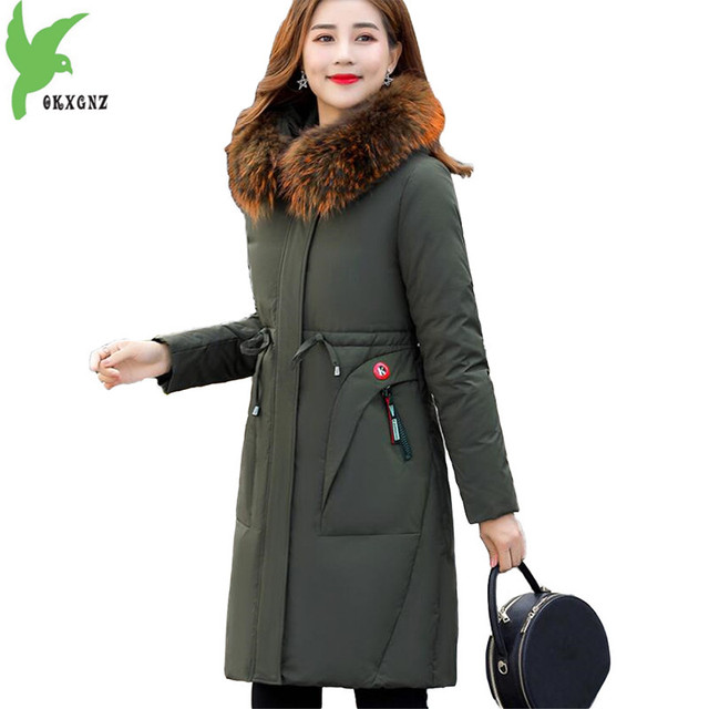 New Winter Down jacket for Women Parkas 2018 Thicken Warm Long Coat Plus size 4XL Fur collar Hooded White Duck down Coats N246