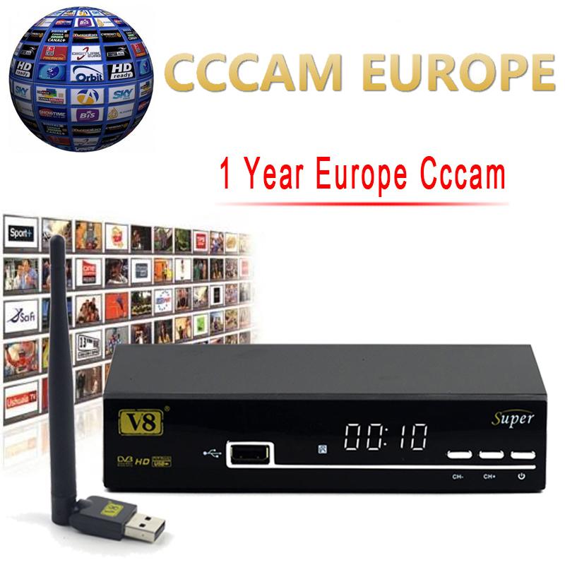 Prix pour 1 Année Europe Cccam Serveur HD Freesat V8 Super DVB-S2 Satellite récepteur Plein 1080 P Italie Espagne Arabe Cccam Cline Avec USB Wifi