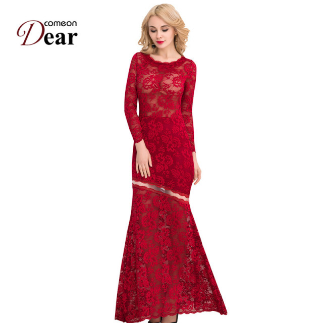 VJ1042 Elegant Wine Red Lace Party Dress Plus Size Women Floral Lace Dresses  Long Sleeve Floor Length Summer Long Maxi Dresses