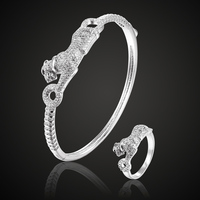 New Arrival Cute Leopard Animal Bangle&bracelet For Women's Couple Jewelry Metal copper Bracelet Cubic zircon Bangle With Box