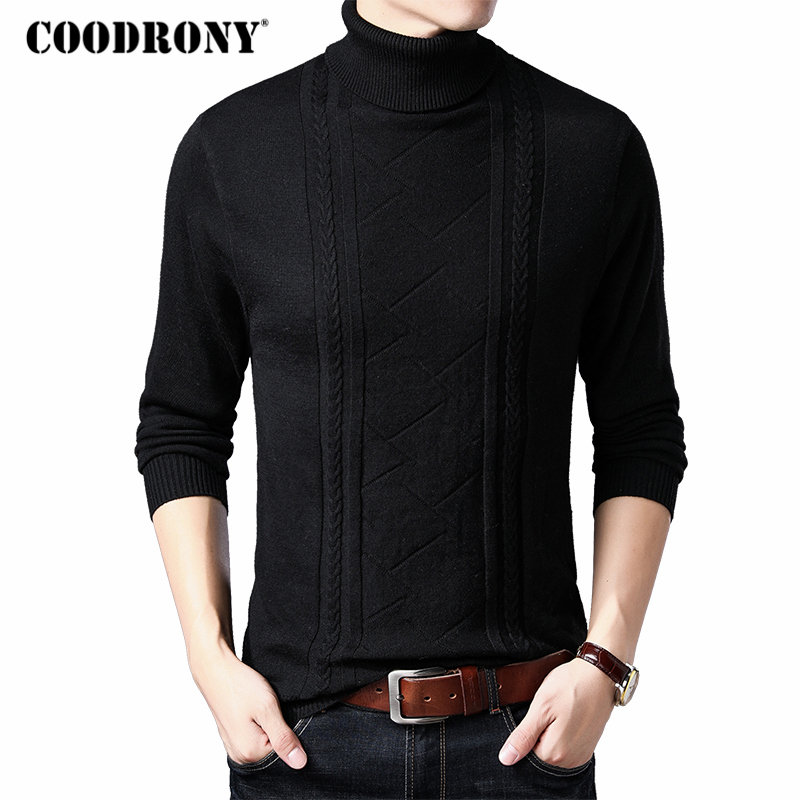 COODRONY Brand Sweater Men Turtleneck Pull Homme Cashmere Woolen Pullover Men Clothes 2019 Winter Thick Warm Mens Sweaters 91032