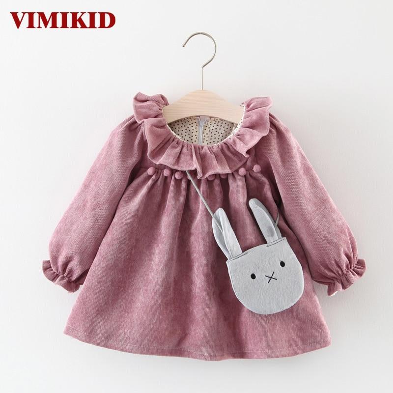 VIMIKID font b Baby b font Girls Dresses 2017 Autumn Long sleeved Lotus Leaf Collar Pocket
