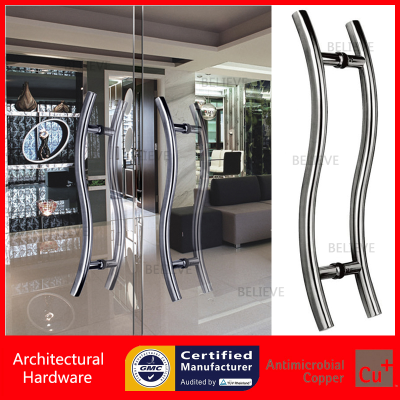 Entrance Pull Handle 304 Stainless Steel Brushed Door Handles For Front/Shower/Home Glass/Metal/Wooden Doors PA-115 antimicrobial environmental wood pull handle pa 710 entrance door handles for entry glass shop store doors