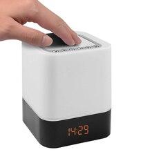 Лидер продаж-сенсорный экран-Управление прикроватная лампа с Беспроводной Bluetooth Динамик, настольные часы-будильник Bluetooth с меняющийся светодиодный Ночной светильник, одновременное подключение двух теле