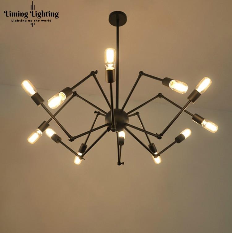 Потолочная люстра, 12 ламп, винтажный промышленный подвесной светильник Эдисона с подвеской пауком для гостиной, столовой, кафе