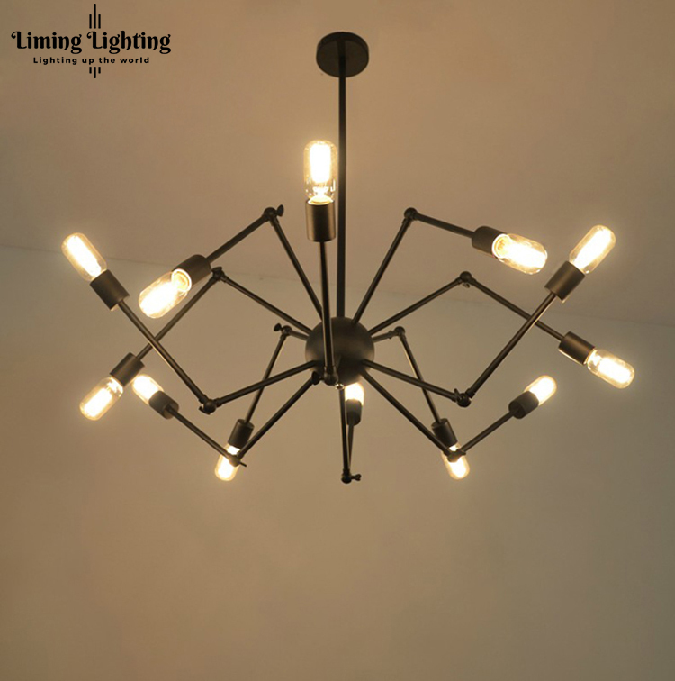 12 Lights Art Design Loft Vintage Industrial Edison Iron Spider Chandelier Droplight Ceiling Lamp Living Room Dining Room Cafe vintage edison chandelier rusty lampshade american industrial retro iron pendant lights cafe bar clothing store ceiling lamp