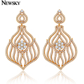 NEWSKY Elegant New Fashion Gold Plated CZ Earrings Brand Drop Dangle Earrings for Women Crystal Earring Charm Jewelry