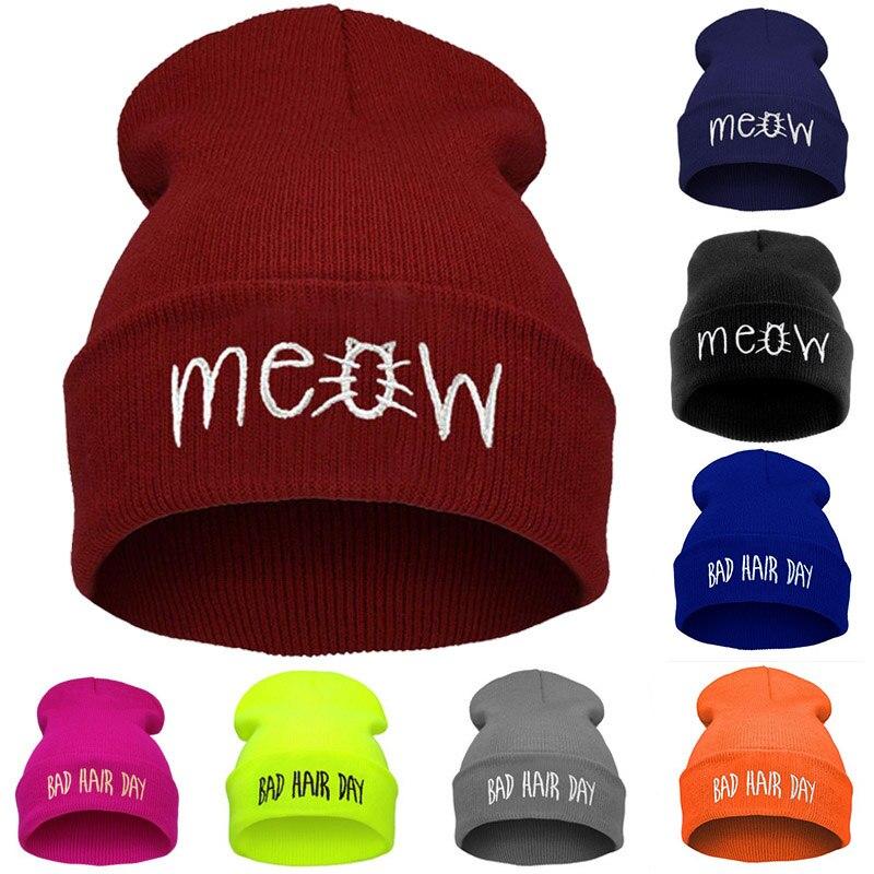2018 Embroidery Meow Winter Hat Men Caps Women's Beanies Warm Hip Hop Bonnet Wool Blends Knitted Hat Female Skullies Beanies