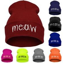 2018 Embroidery Meow Winter Hat Men Caps Women's Beanies War