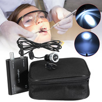 1W Portable LED Head Light Spotlight Black Headlight With Clip Dental Medical Binocular Magnifier Glasses Loupe Dentist Exams